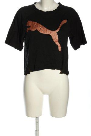Puma Cropped Shirt schwarz-nude Schriftzug gedruckt Casual-Look