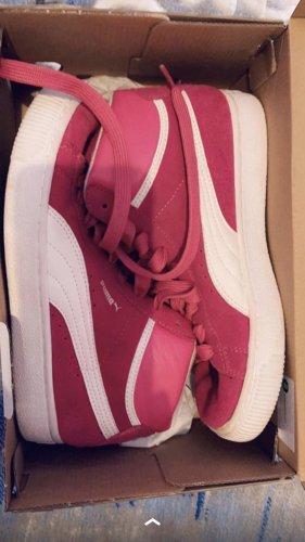 Puma Zapatillas altas blanco-rojo frambuesa