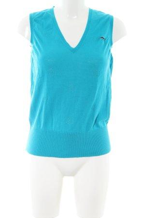 Puma Feinstrickpullunder blau grafisches Muster Casual-Look