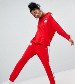 Puma Pantalone da ginnastica rosso-bianco