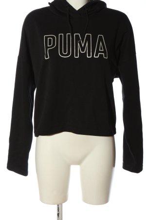 Puma Kapuzensweatshirt schwarz-weiß Schriftzug gedruckt Elegant