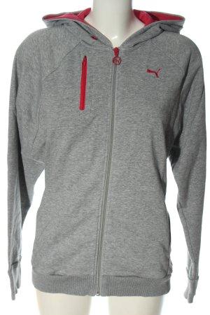 Puma Sweat à capuche gris clair-rouge moucheté style décontracté