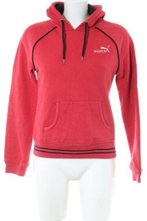 Puma Sweat à capuche rouge-noir style décontracté