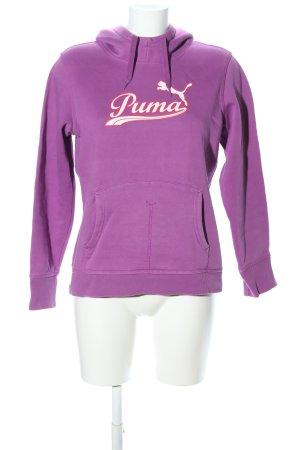 Puma Kapuzensweatshirt lila-weiß Schriftzug gedruckt Casual-Look