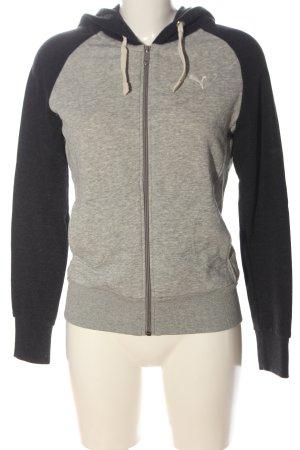 Puma Hooded Sweatshirt light grey-black flecked casual look