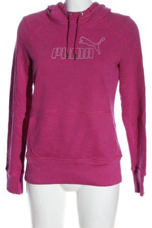 Puma Kapuzensweatshirt pink Schriftzug gedruckt Casual-Look