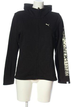Puma Hooded Sweatshirt black-natural white printed lettering casual look