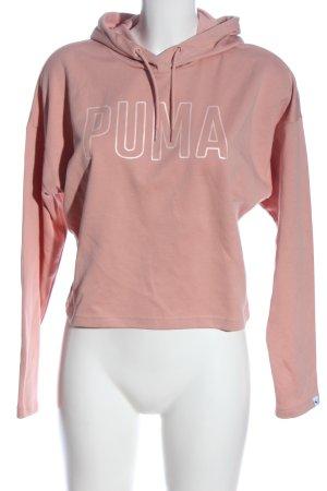 Puma Kapuzensweatshirt pink-hellgrau Schriftzug gedruckt Casual-Look