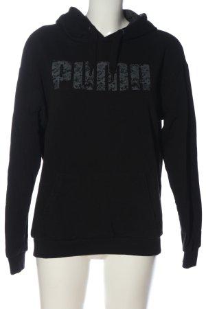Puma Kapuzensweatshirt schwarz-hellgrau Schriftzug gedruckt Casual-Look