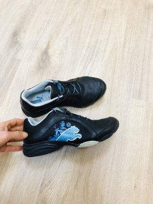 Puma Leder Trainers Size 4.5 (37.5) schwarz türkis Sportschuhe Sneakers Turnschuhe Laufschuhe