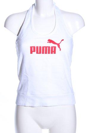 Puma Neckholdertop weiß-rot Schriftzug gedruckt Casual-Look