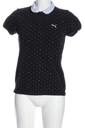 Puma Polo-Shirt schwarz-weiß Punktemuster Casual-Look