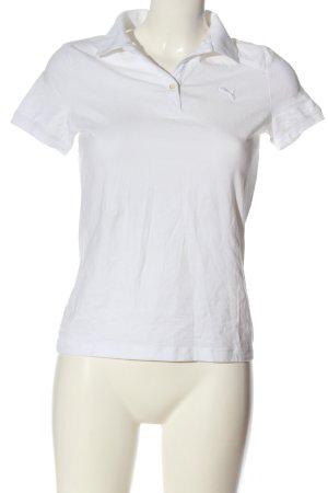 Puma Polo-Shirt weiß Schriftzug gestickt Casual-Look