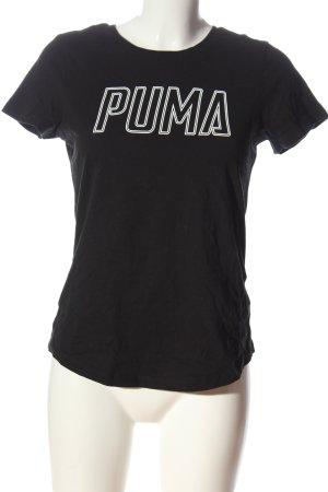 Puma Print-Shirt schwarz-weiß Schriftzug gedruckt Casual-Look
