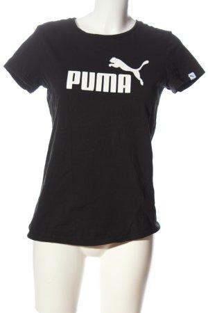 Puma Print-Shirt schwarz Schriftzug gedruckt Casual-Look