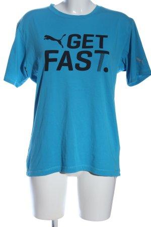 Puma Print-Shirt blau Schriftzug gedruckt Casual-Look