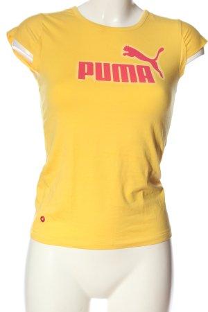 Puma Print-Shirt blassgelb-pink Schriftzug gedruckt Casual-Look