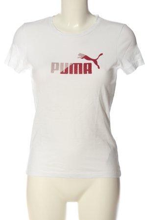 Puma Print-Shirt weiß-rot Schriftzug gedruckt Casual-Look