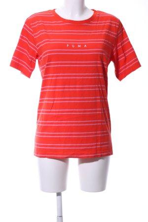 Puma Stripe Shirt neon orange-pink horizontal stripes casual look