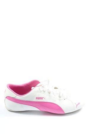 Puma Schnürsneaker weiß-pink Schriftzug gedruckt Casual-Look