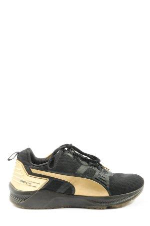 Puma Schnürsneaker schwarz-goldfarben Glanz-Optik