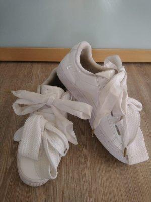 Puma Sneaker weiß Glanz Gr.39 Schleife basket Heart  dicke Schnürsenkel