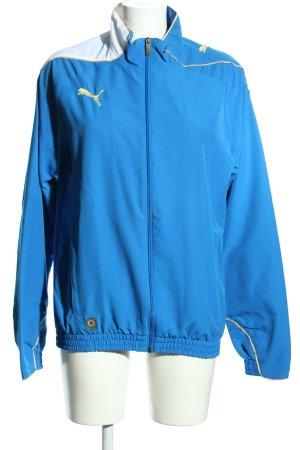 Puma Sportjacke blau-weiß Schriftzug gestickt sportlicher Stil