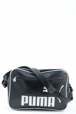 Puma Sporttasche schwarz-weiß Schriftzug gedruckt Casual-Look