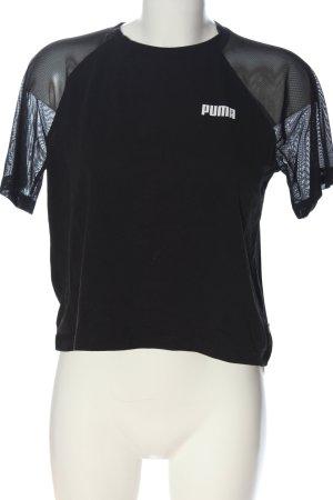 Puma Strickshirt schwarz-weiß Schriftzug gedruckt Casual-Look