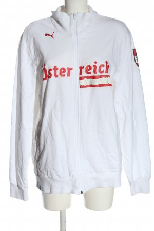 Puma Sweatjacke weiß-rot Schriftzug gedruckt Casual-Look
