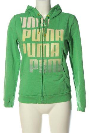 Puma Sweatjacke grün Schriftzug gedruckt Casual-Look