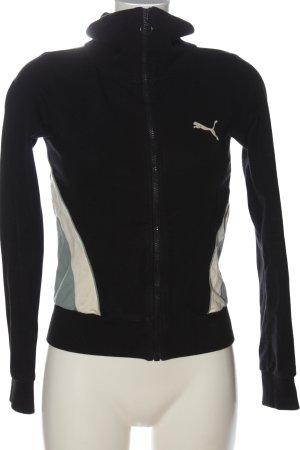 Puma Sweatjacke schwarz-wollweiß Motivdruck Casual-Look