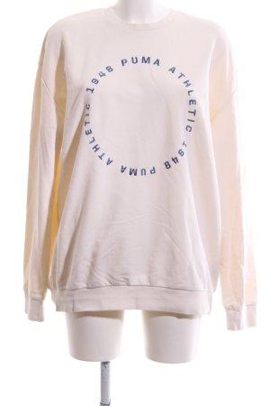 Puma Sweatshirt creme-blau Schriftzug gedruckt Casual-Look