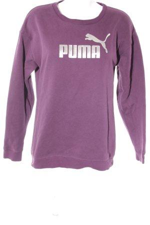 Puma Sweatshirt purpur-silberfarben Schriftzug gedruckt sportlicher Stil