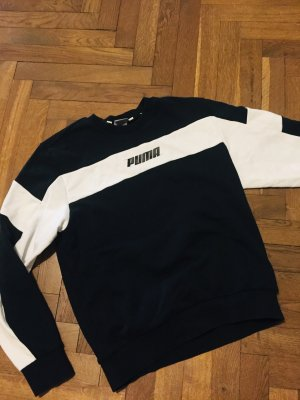 Puma Bluza dresowa biały-czarny Tkanina z mieszanych włókien