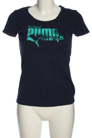 Puma T-Shirt schwarz-blau Schriftzug gedruckt Casual-Look