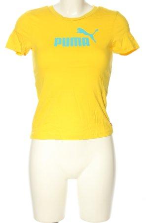 Puma T-Shirt blassgelb Schriftzug gedruckt Casual-Look