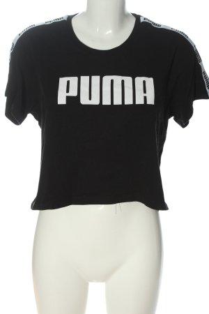 Puma T-Shirt schwarz-weiß Schriftzug gedruckt Casual-Look