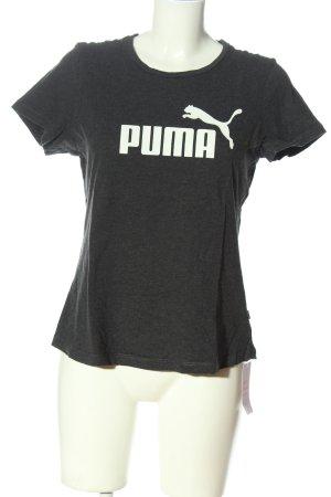 Puma T-Shirt hellgrau-weiß Schriftzug gedruckt Casual-Look