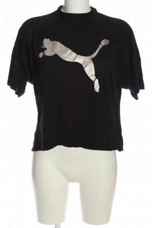 Puma T-Shirt schwarz-silberfarben Motivdruck Casual-Look