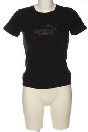 Puma T-Shirt schwarz-hellgrau Schriftzug gedruckt Casual-Look
