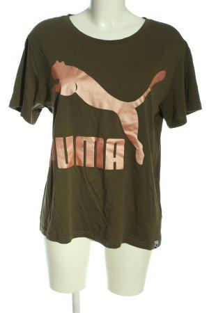Puma T-Shirt braun-nude Motivdruck Casual-Look