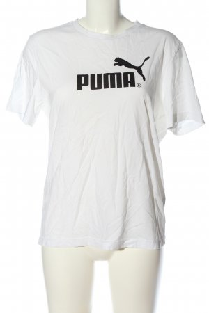 Puma T-Shirt white-black printed lettering casual look