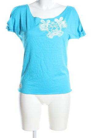 Puma T-Shirt blau-weiß Motivdruck Casual-Look