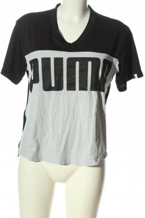 Puma T-Shirt schwarz-hellgrau Motivdruck Casual-Look