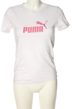 Puma T-Shirt weiß-pink Schriftzug gedruckt Casual-Look