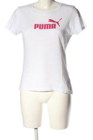 Puma T-Shirt weiß-pink Motivdruck Casual-Look