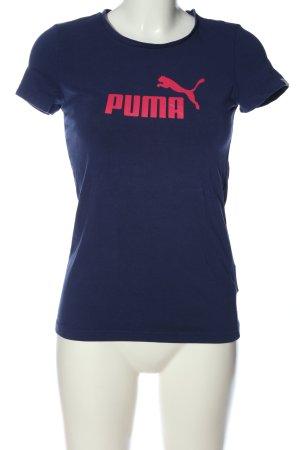 Puma T-Shirt blau Schriftzug gedruckt Casual-Look
