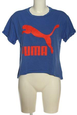 Puma T-Shirt blau-hellorange Motivdruck Casual-Look