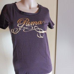 Puma T-Shirt Braun-goldfarben Motivdruck Casual-Look